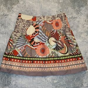 Colorful pleated cotton skirt